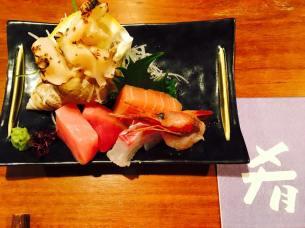 Sashimi plate with Amaebi, Marlin(back/fin), toro and sea snail