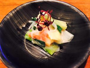 Crab with pickled mountain vegetables
