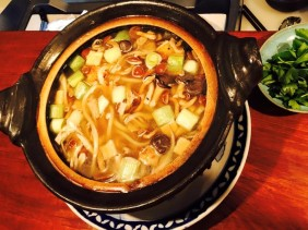 Udon hot pot with chicken with assorted mushrooms - BEST udon Ive ever had!