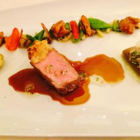 Veal cutlet, tongue and sweetbreads, Taggiasca olives, beans, artichokes, tomatoes