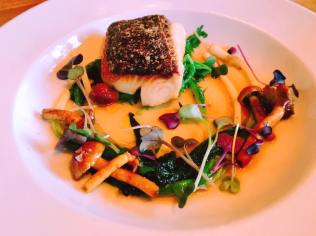 Neah bay black cod, field greens, cinnamon cap mushroom confit, mushroom dashi, wild ramps, curry oil ~$24