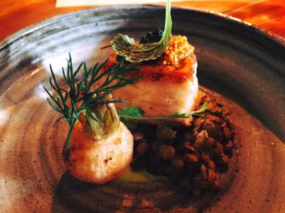Neah bay halibut, baby turnip, green lentil salad, asparagus cream, stinging nettle oil, picked mustard seed
