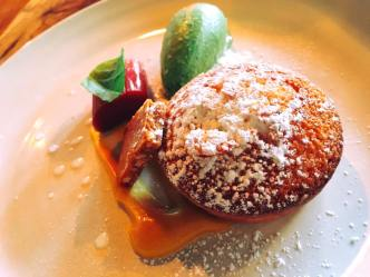 Almond brown butter cake, spearmint ice cream, poached rhubarb, orange sauce, almond brittle, lavender syrup