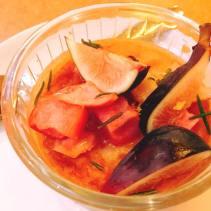 apple mochi marzipan cake, figs, rosemary & umeboshi syrup