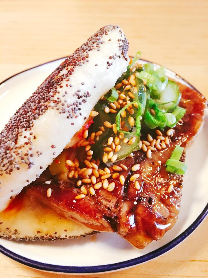beef tongue, kimchi, cucumber, poppy seed steam bun 13.50