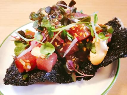 tuna poke, sesame oil, radish, nori cracker 16.50