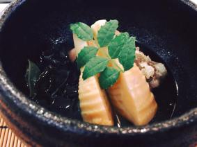 Grilled dish: Grilled local snapper in dashi soup, Simmered bamboo shoot and seaweed