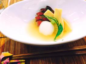 Simmered dish: Bamboo shoot, Turnip, Beef steak with cucumber and vinegar sauce