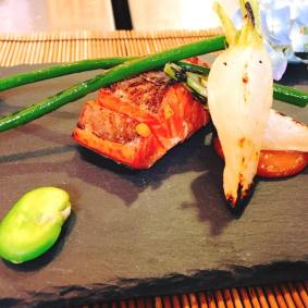 Grilled dish: Grilled Copper River Salmon, turnip and garlic scapes Hydrangea shaped squid sushi