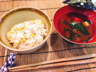 Rice Dish: Roasted corn with rice, Akadashi miso soup