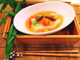 "Noodle dish: Cold Somen Noodle ""Milky way"" style"