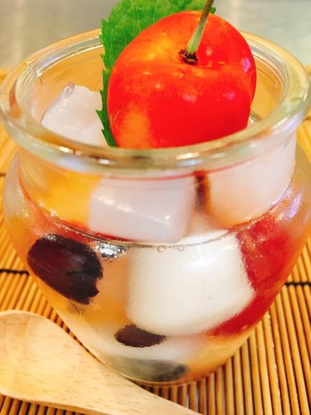 Dessert: Black beans, Nata de coco cubes and Fruits In jelly syrup