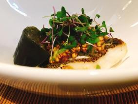 rilled dish: Grilled seasonal fish, buckwheat groats miso on top