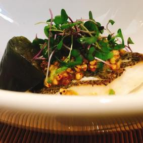 rilled dish: Grilled seasonal fish, buckwheat groats miso on top