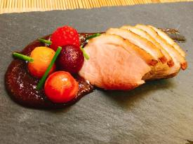 Grilled Dish: Braised duck breast with Miso and red wine sauce