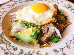 Braised Duck Chiloquiles - Corn tortillas, tomatillo salsa, sunny side up egg